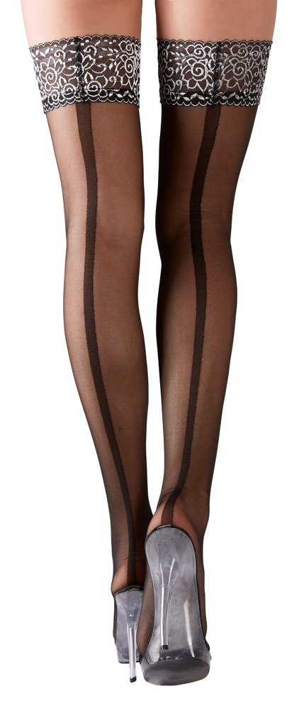 Cottelli Collection Stockings BLACK STOCKINGS WITH SILVER ORNAMENT