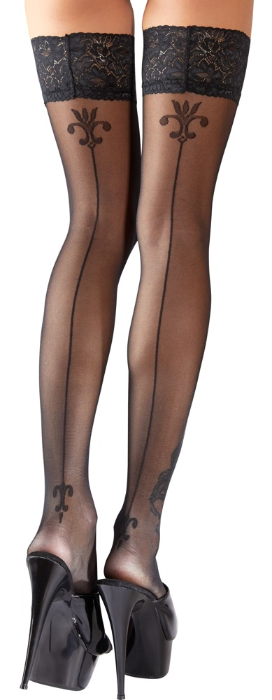 Cottelli Collection Stockings BLACK STOCKINGS WITH DECORATIVE LILIES