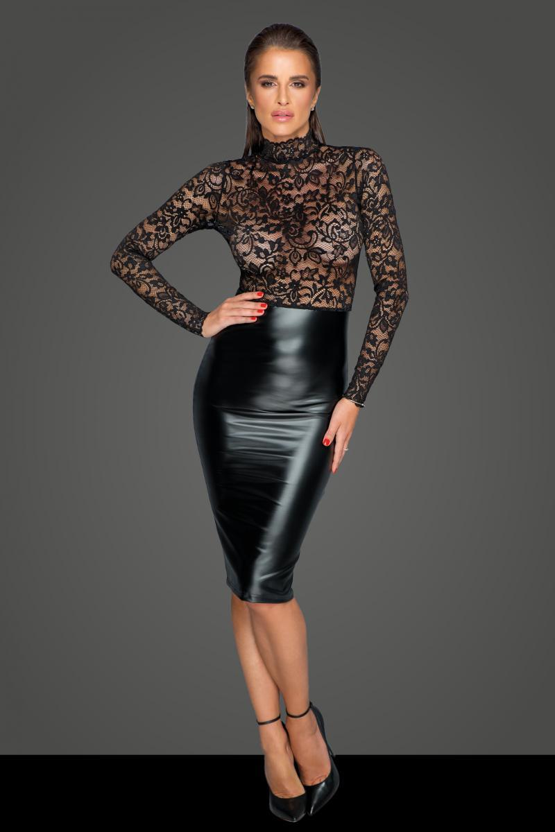 Noir Handmade POWERWETLOOK DRESS WITH LACE TOP