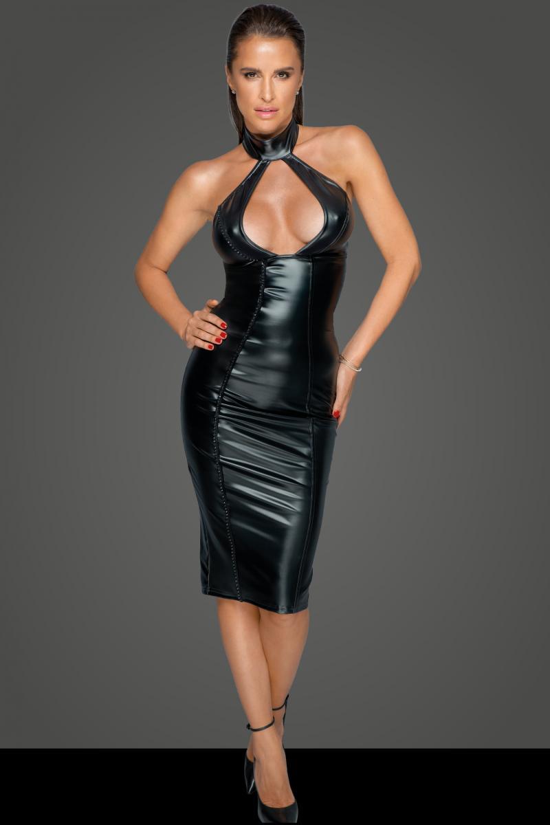 Noir Handmade WETLOOK DRESS WITH WIDE COLLAR
