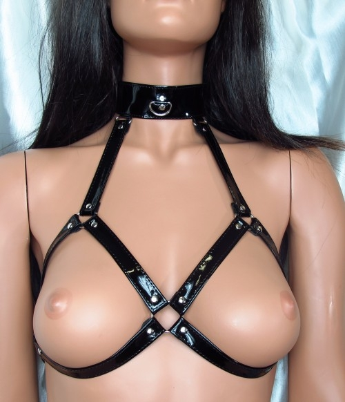 BDSM Arsenal HARNESS FROM BLACK PATENT LEATHER
